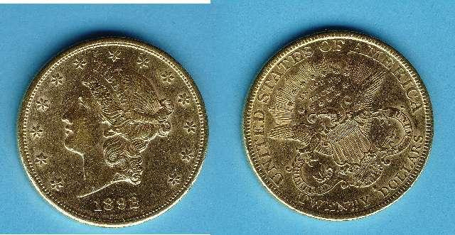 Münze 20 Dollar USA 1892S Gold Kopf Liberty/Double Eagle #3083