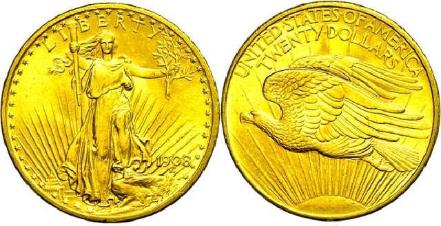 Münze 20 Dollar   USA  1908  Gold St. Gaudens/Double Eagle  #3164