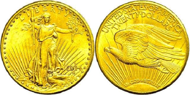 Münze 20 Dollar   USA  1914  Gold St. Gaudens/Double Eagle  #3167